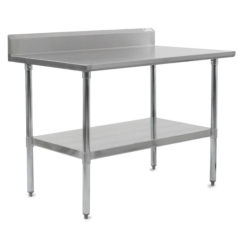 "John Boos FBLGR5-4824 48"" 18-ga Work Table w/ Undershelf & 430-Series Stainless Top, 5"" Backsplash"