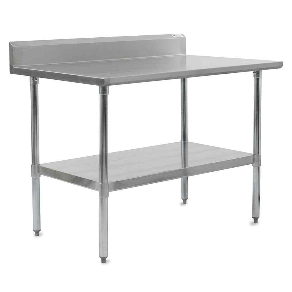 "John Boos FBLGR5-8424 84"" 18 ga Work Table w/ Undershelf & 430 Series Stainless Top, 5"" Backsplash"