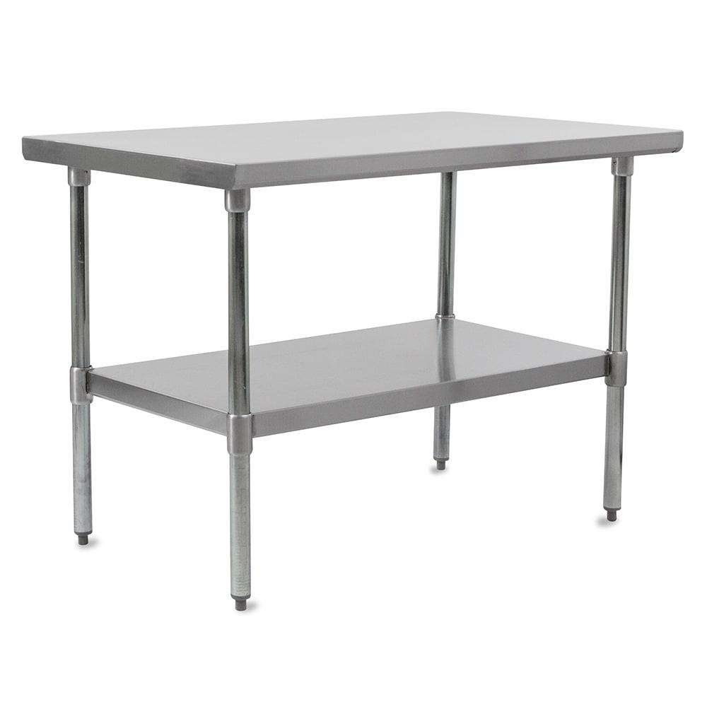 "John Boos FBLS9618 96"" 18-ga Work Table w/ Undershelf & 430-Series Stainless Flat Top"