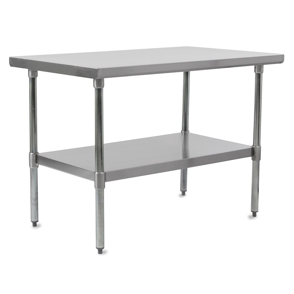 "John Boos FBLS9624 96"" 18 ga Work Table w/ Undershelf & 430 Series Stainless Flat Top"