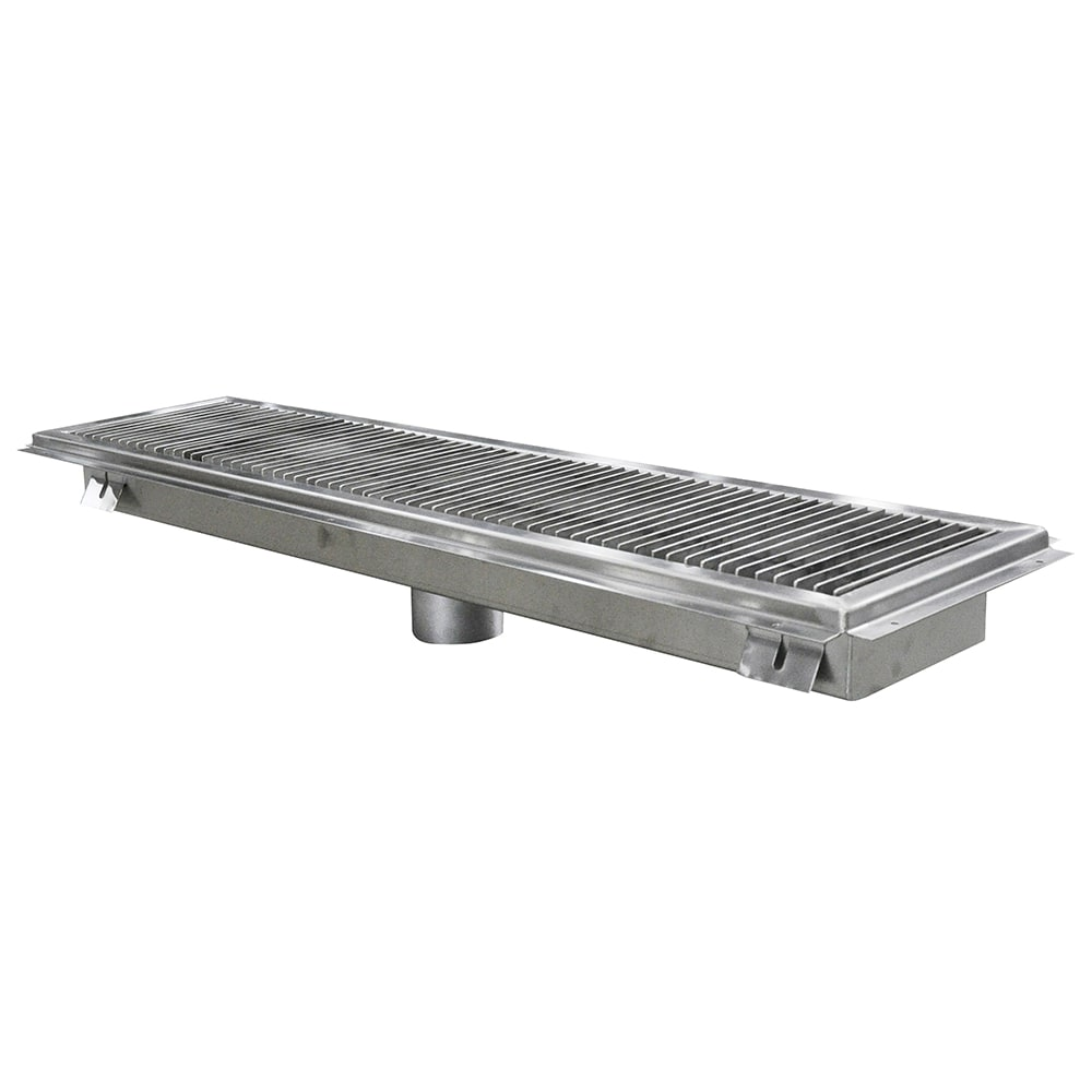 John Boos FTSG-1248 Floor Trough w/ Mounting Flange & Removable Subway Grate, 12 x 48""
