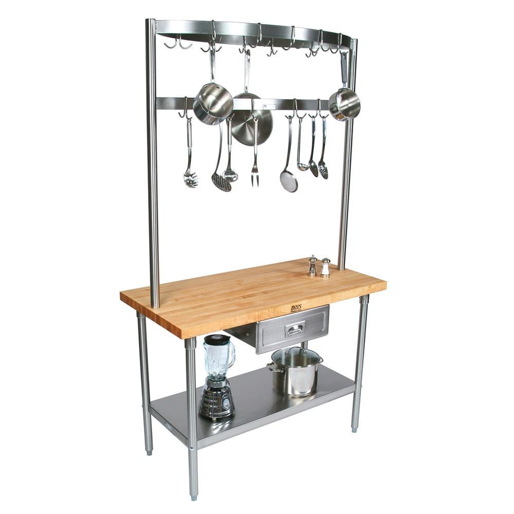 "John Boos GRA02C Cucina Grandioso Work Table, Stainless Shelf, Drawer, Pot Rack, 48 x 24 x 84""H"