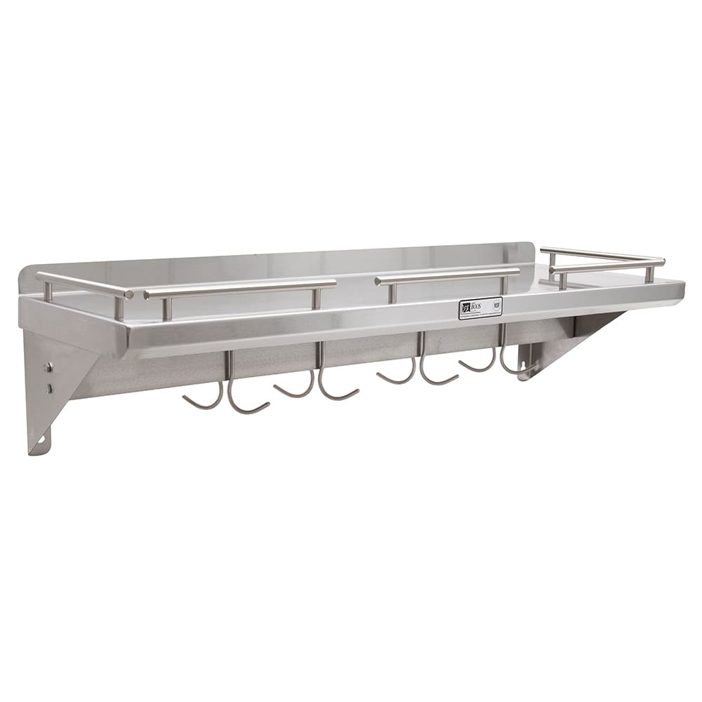 "John Boos GRWS24UB Cucina Mensola Grande, Wall Shelf with Pot Rack & Galley Rail, Stainless, 24""L"