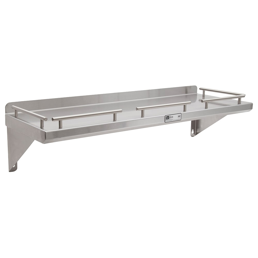 "John Boos GRWS36 Solid Wall Mounted Shelf, 36""W x 12""D, Stainless"