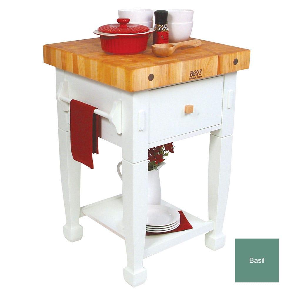 "John Boos JASMN24243-D-S Jasmine Hard Maple Table, 24 x 24"", Basil Green"