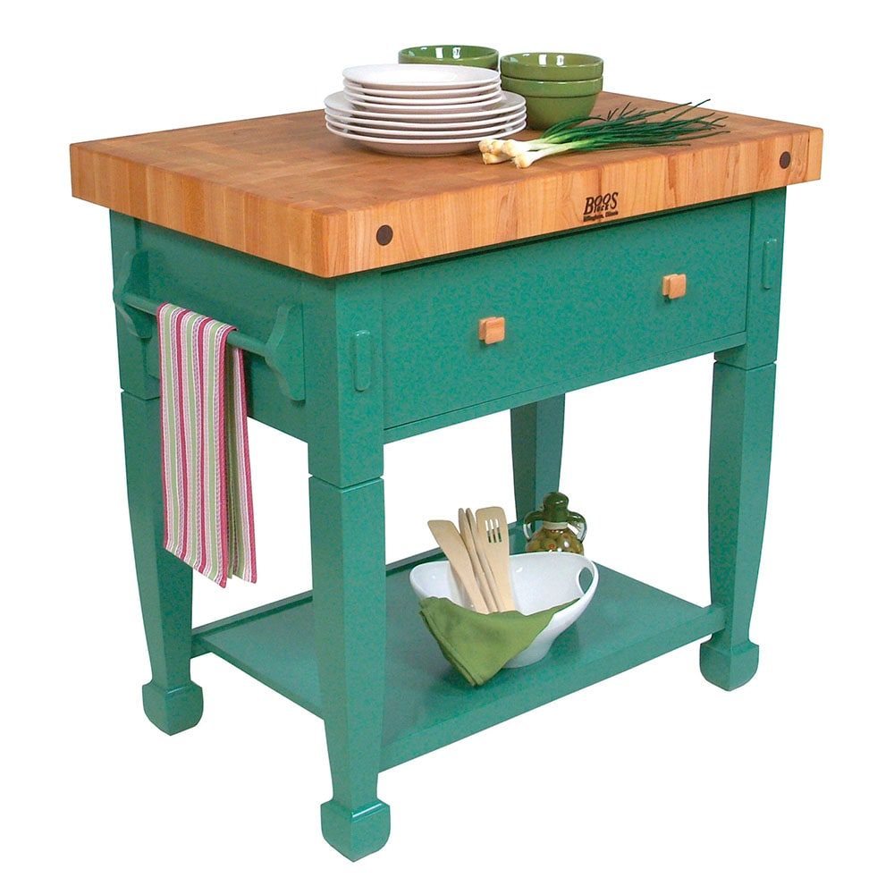 "John Boos JASMN36243-D-S Jasmine Hard Maple Table, 36 x 24"", Basil Green"