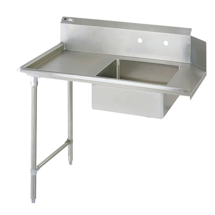 "John Boos JDTS-20-60L 60"" Soiled Dishtable w/ 20 x 20 x 8"" Bowl & 16 ga Stainless Legs, L to R"