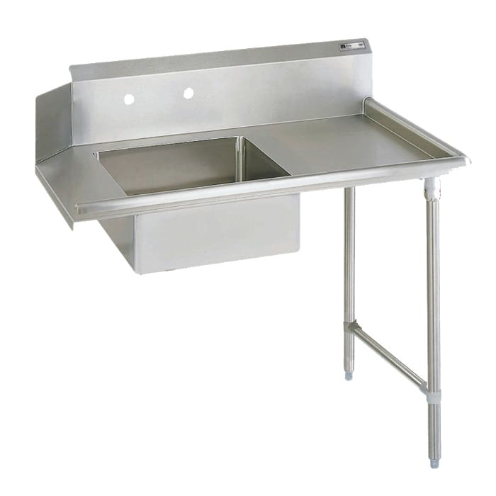 "John Boos JDTS-20-60R 60"" Soiled Dishtable w/ 20 x 20 x 8"" Bowl & 16-ga Stainless Legs, R to L"