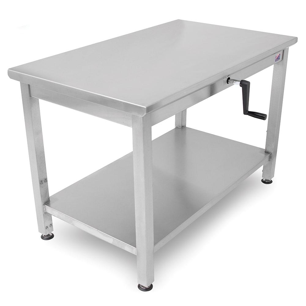 "John Boos LT6-3048SSW 48"" 16 ga Work Table w/ Undershelf & 300 Series Stainless Flat Top"
