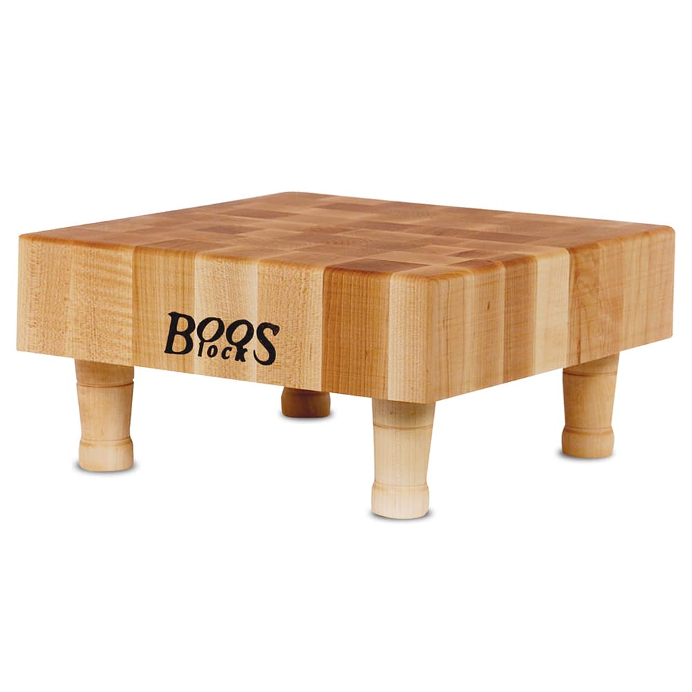 "John Boos MCS1 Maple Chopping Block w/ 4 Wooden Feet, 12 x 12 x 3"" Thick"