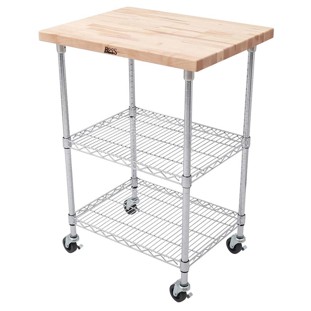 John Boos MET-MWC-1 2-Shelf Wire Cart w/ Maple Top, 800-lb Capacity ...