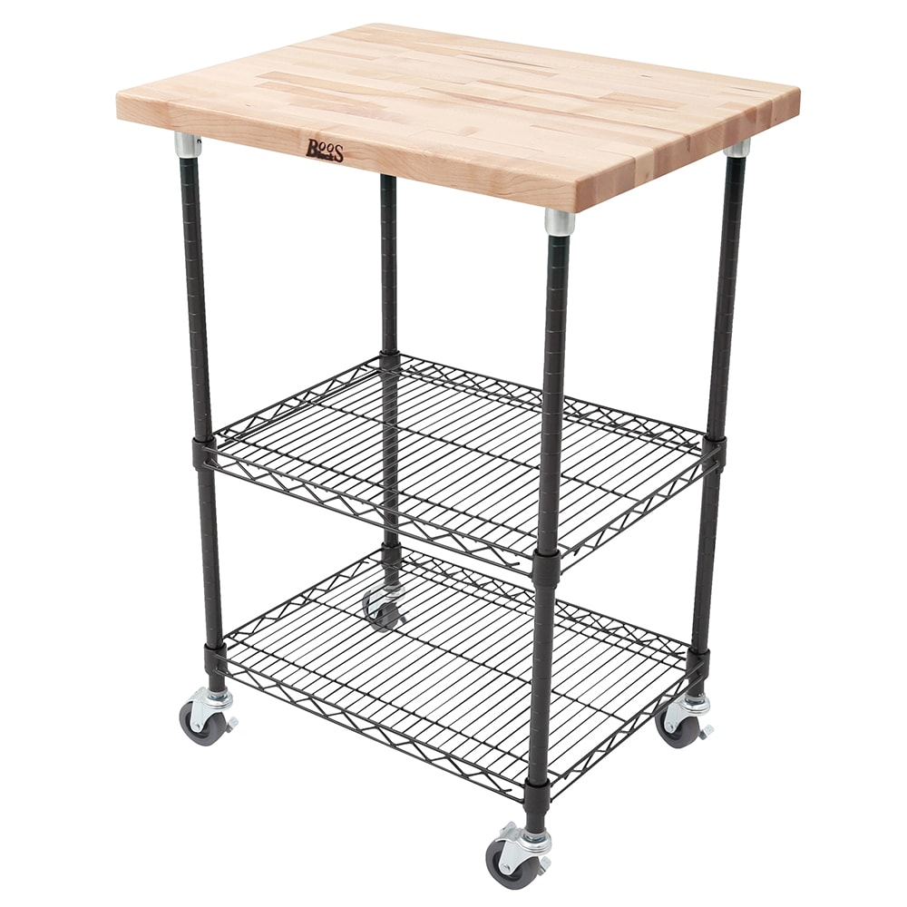 "John Boos MET-MWCK-1 Mobile Cart - Maple Top, Adjustable Shelves, 21x27x36"", Black"