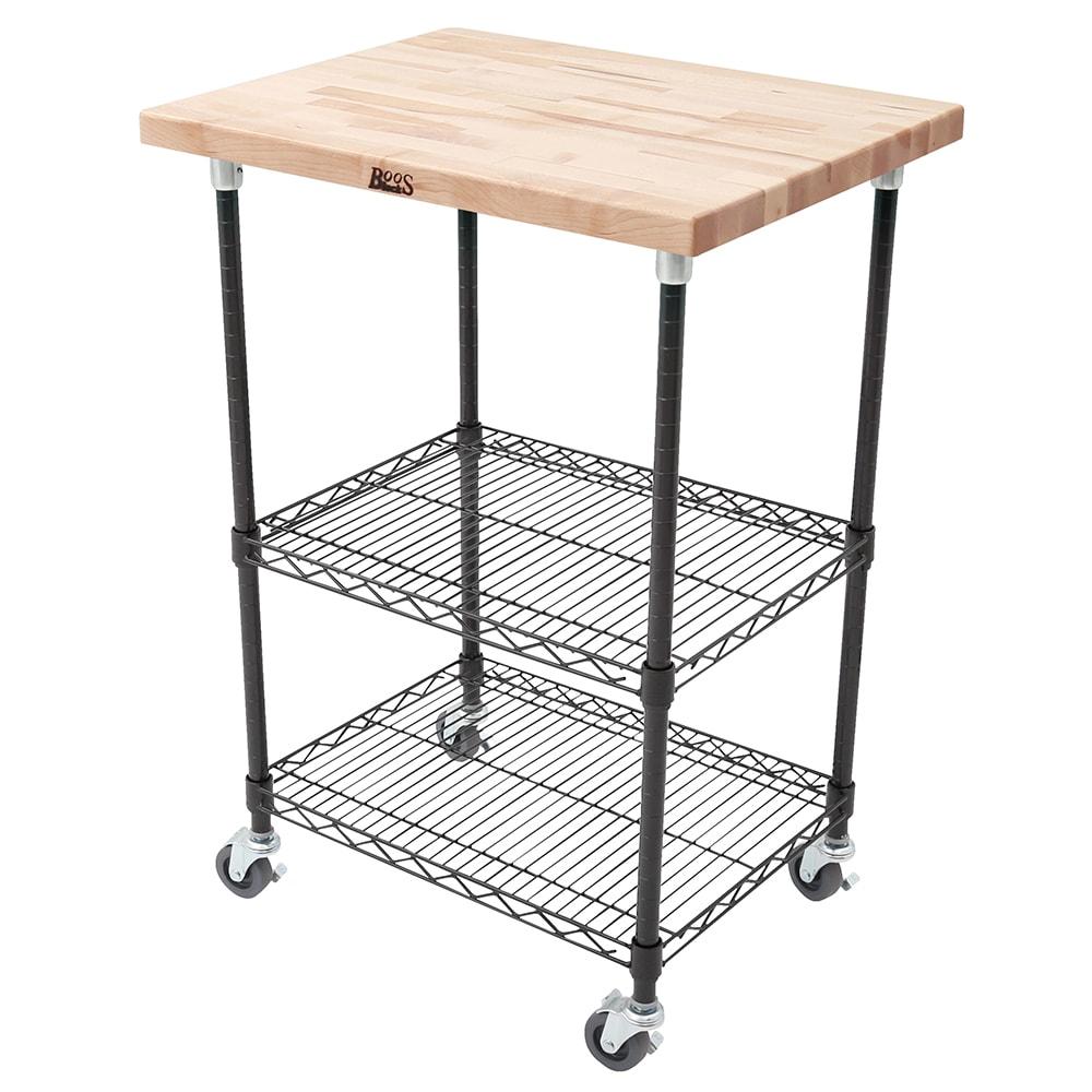 "John Boos MET-MWCK-2 Mobile Cart - Maple Top, Adjustable Shelves, 21x33x36"", Black"