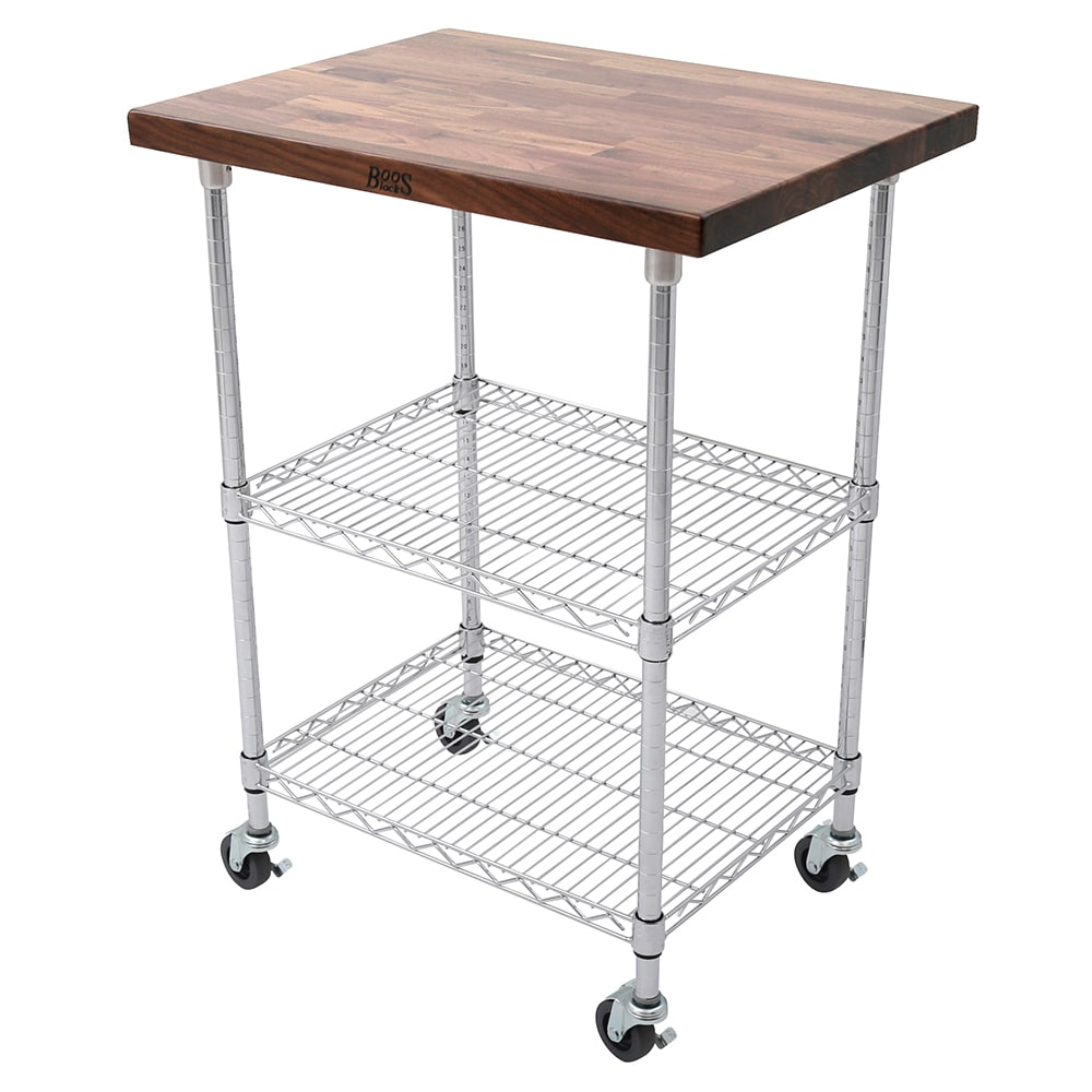 "John Boos MET-WWC-1 Mobile Cart - Walnut Top, Adjustable Shelves, 21x27x36"", Chrome"