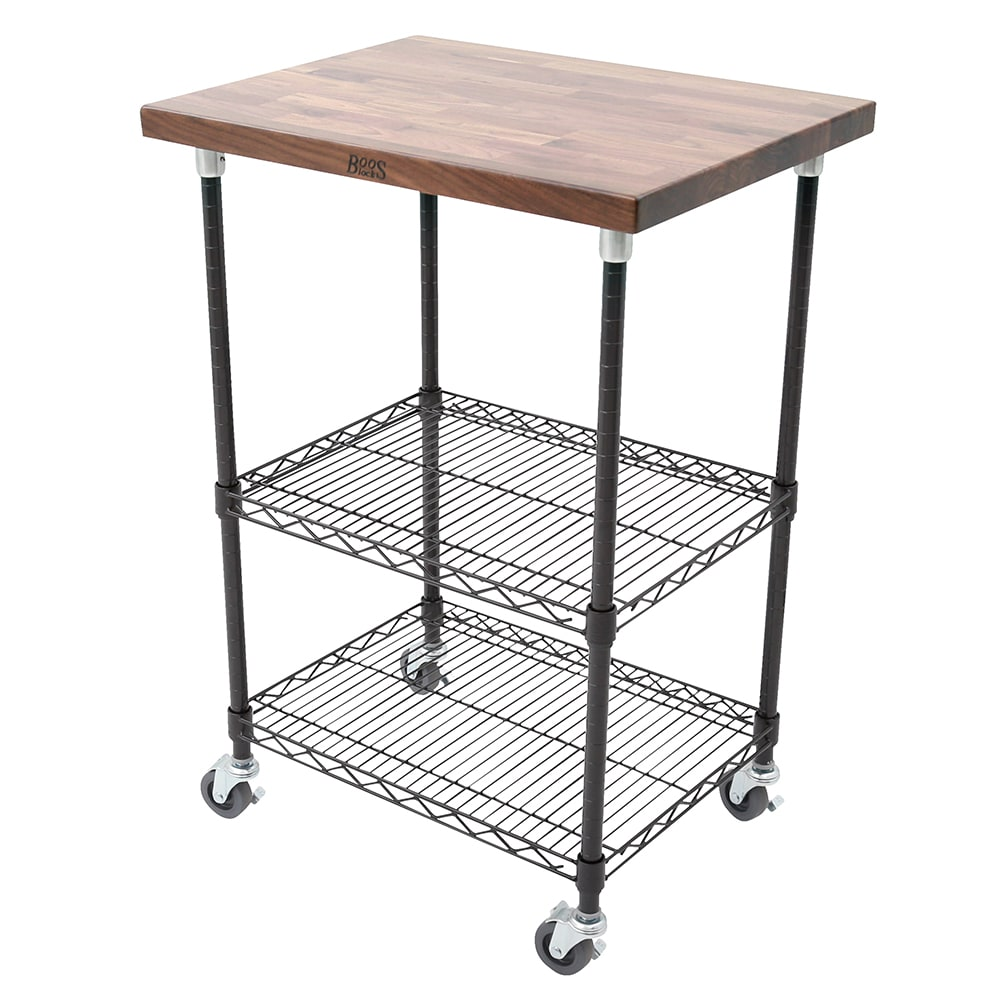 "John Boos MET-WWCK-1 Mobile Cart - Walnut Top, Adjustable Shelves, 21x27x36"", Black"