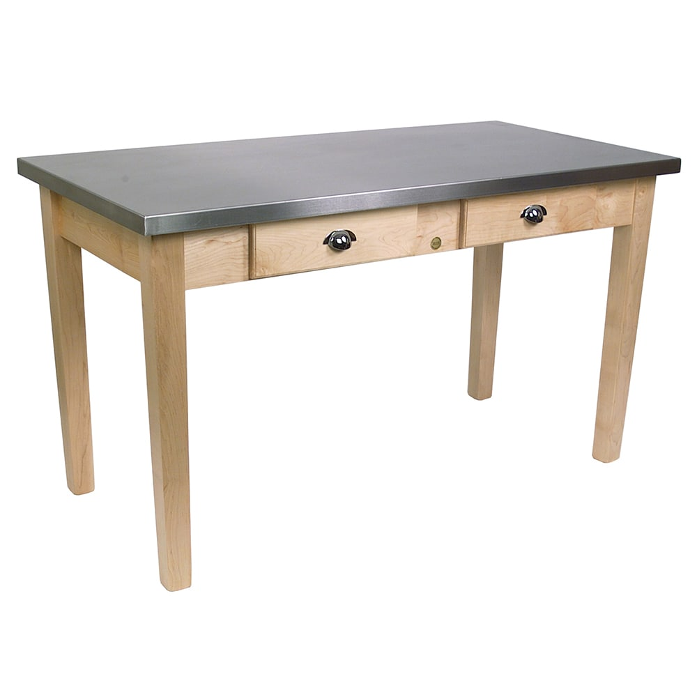 "John Boos MIL4824D Cucina Milano Work Table, 1-1/2"" Thick, Stainless Top, Maple Base, 24 x 48 x 30""H"