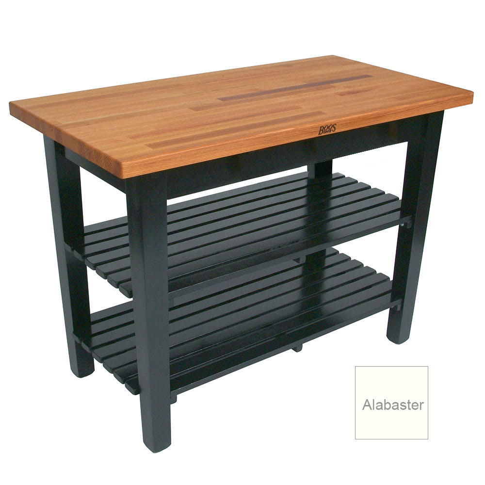 "John Boos OC3625-2S American Heritage Oak C Table, 2 Shelves, 36 x 35"" H, Alabaster"