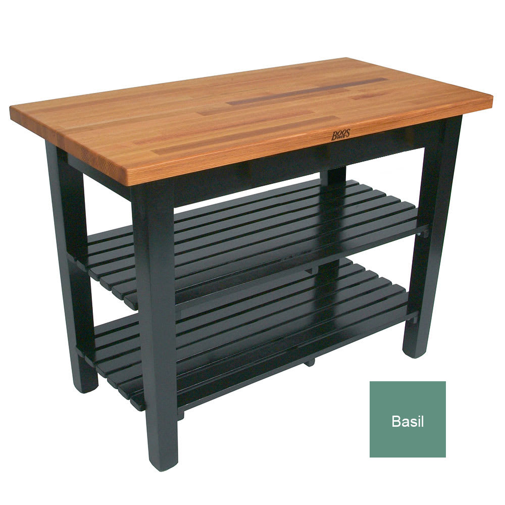 "John Boos OC3625 2S BS American Heritage Oak C Table, 2 Shelves, 36 x 35"" H, Basil"