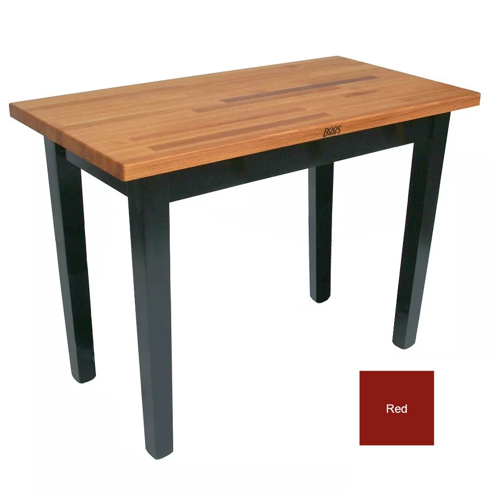 "John Boos OC3625 American Heritage Oak C Table, 36 x 25 x 35"" H, Barn Red"