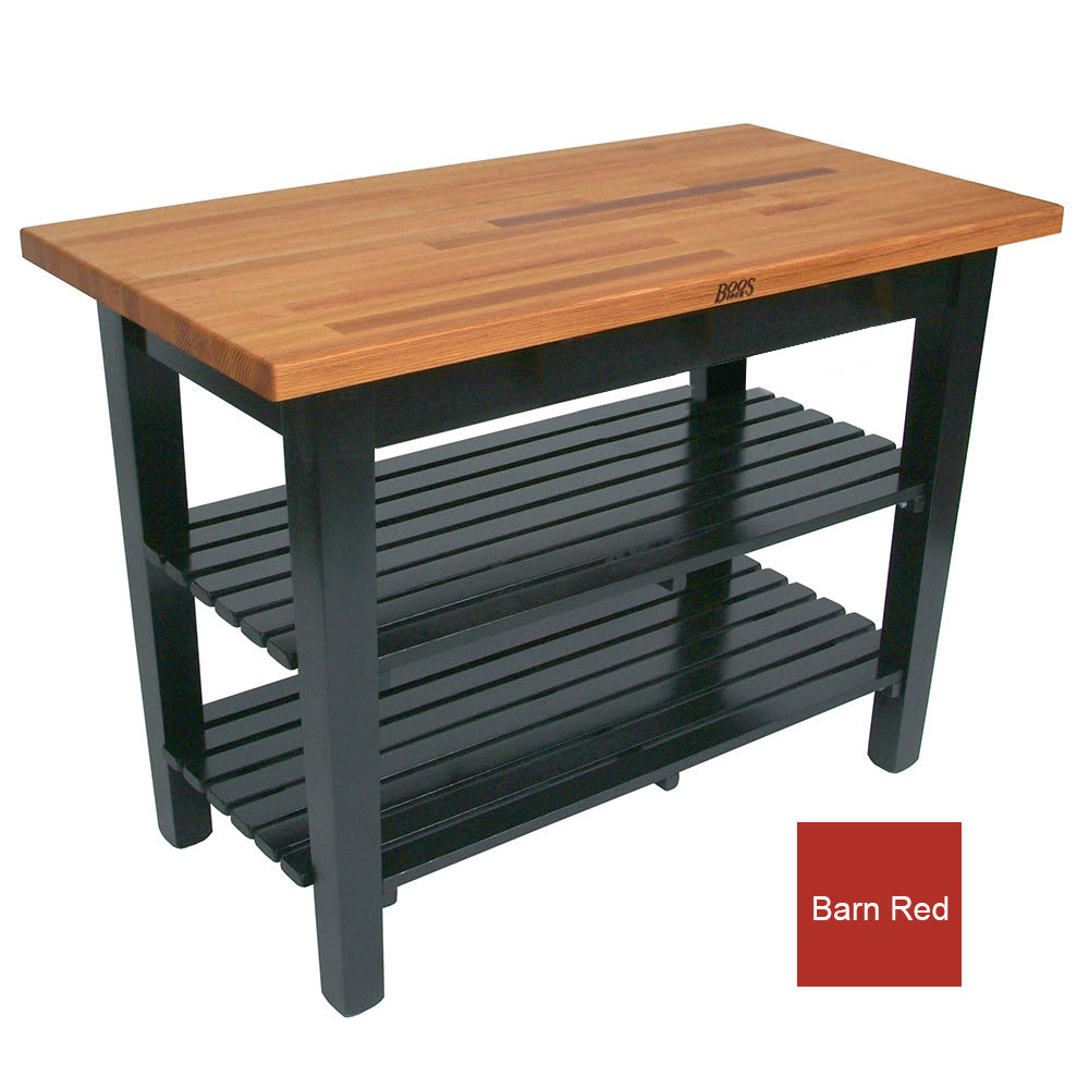 "John Boos OC4825-2S American Heritage Oak C Table, 2 Shelves, 48 x 35"" H, Barn Red"