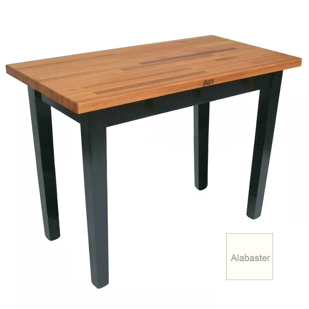 "John Boos OC4825 American Heritage Oak C Table, 48 x 25 x 35"" H, Alabaster"