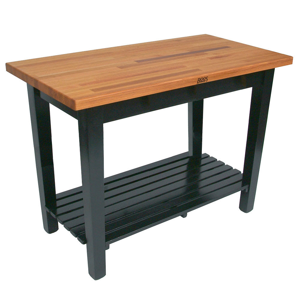 "John Boos OC4825 S BK American Heritage Oak C Table, 1 Shelf, 48 x 25 x 35"" H, Black"