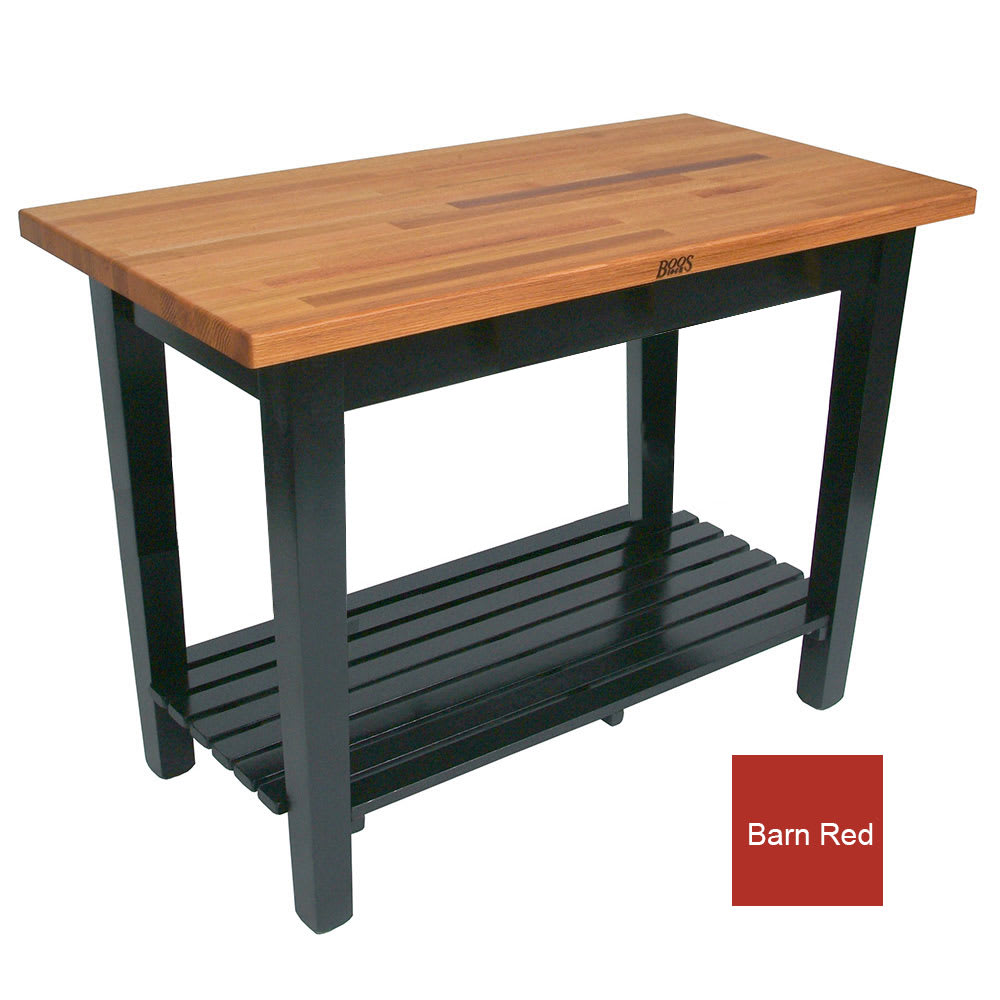 "John Boos OC4825 S BN American Heritage Oak C Table, 1 Shelf, 48 x 25 x 35"" H, Barn Red"