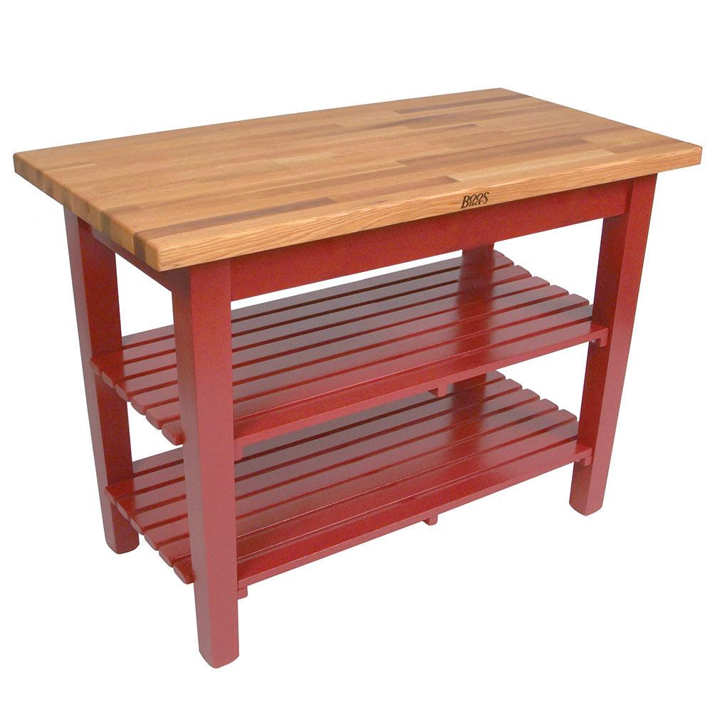 "John Boos OC6025 2S BN American Heritage Oak C Table, 2 Shelves, 60 x 35"" H, Barn Red"