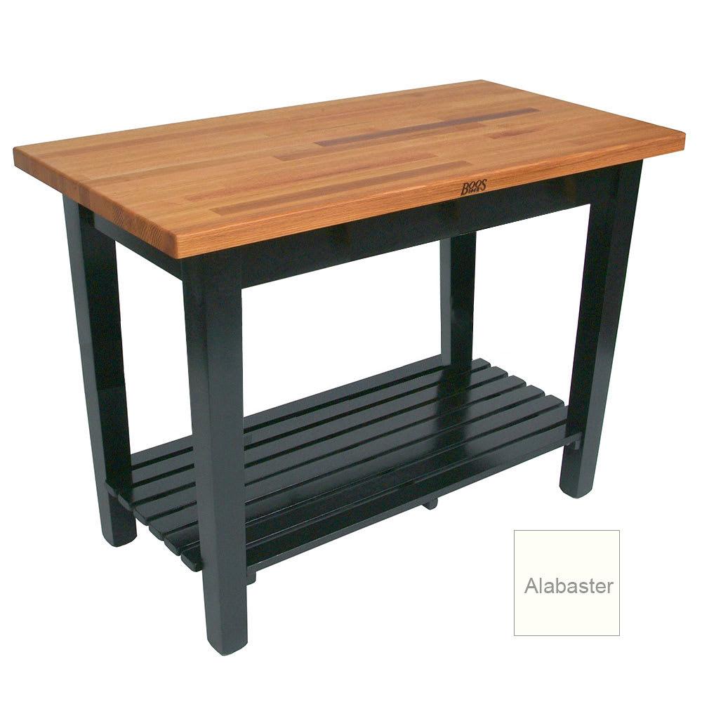"John Boos OC6025 S AL American Heritage Oak C Table, 1 Shelf, 60 x 25 x 35"" H, Alabaster"