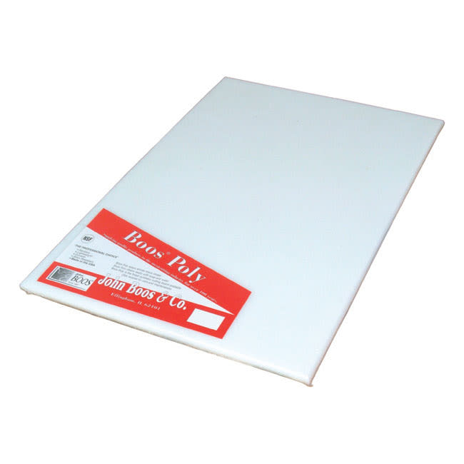"""John Boos P1098 Cutting Board, Reversible Poly, Shrink Wrapped, 12x12x.5"""", White"""