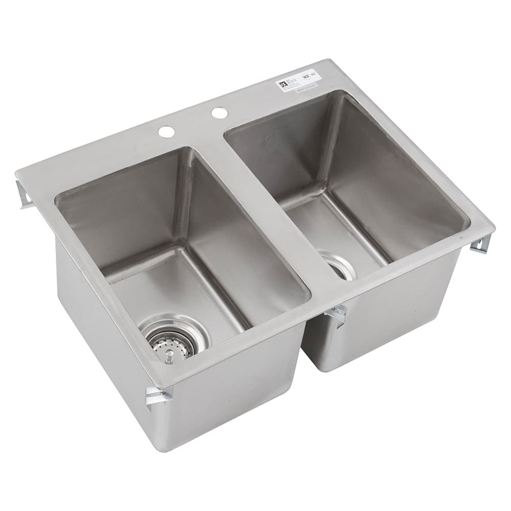 "John Boos PB-DISINK101410-2 (2) Compartment Drop-in Sink - 10"" x 14"", Drain Included"