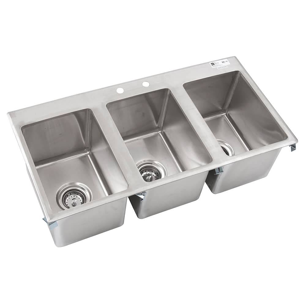 "John Boos PB-DISINK101410-3 (3) Compartment Drop-in Sink - 10"" x 14"", Drain Included"