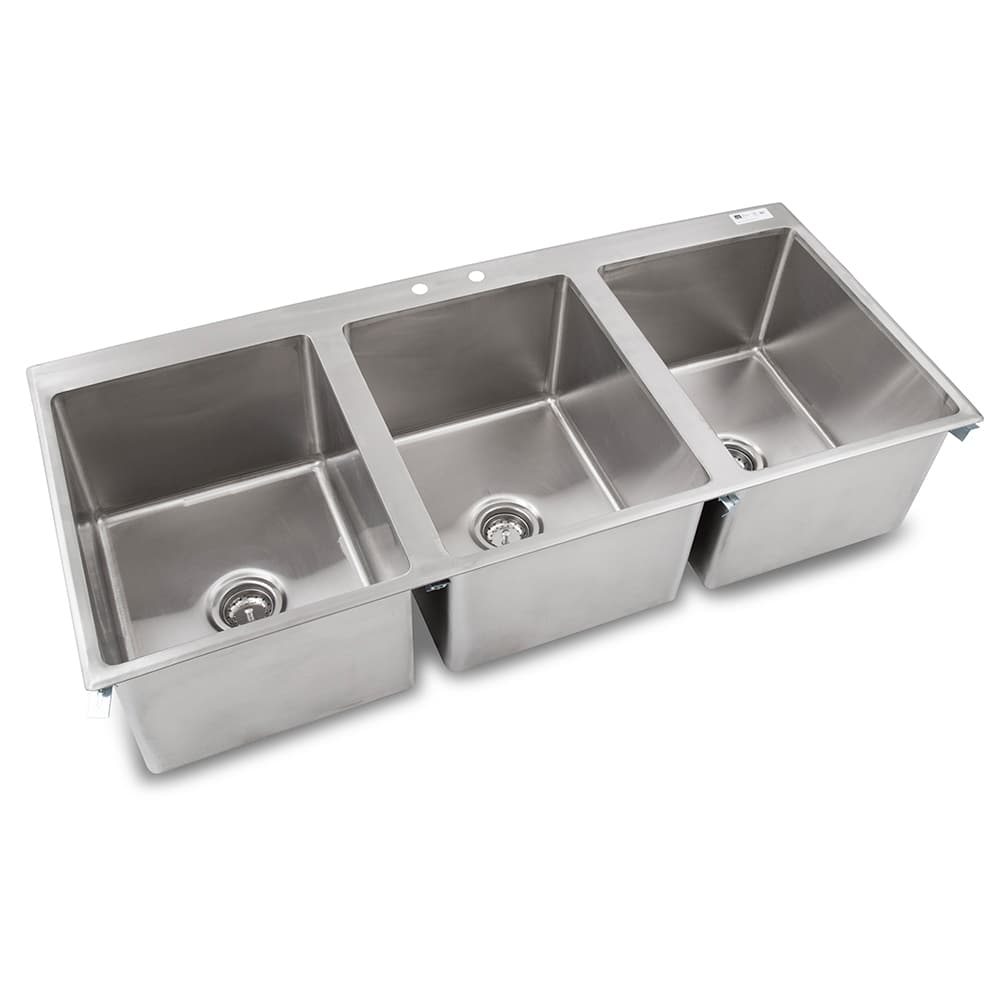 "John Boos PB-DISINK162012-3 (3) Compartment Drop-in Sink - 16"" x 20"", Drain Included"