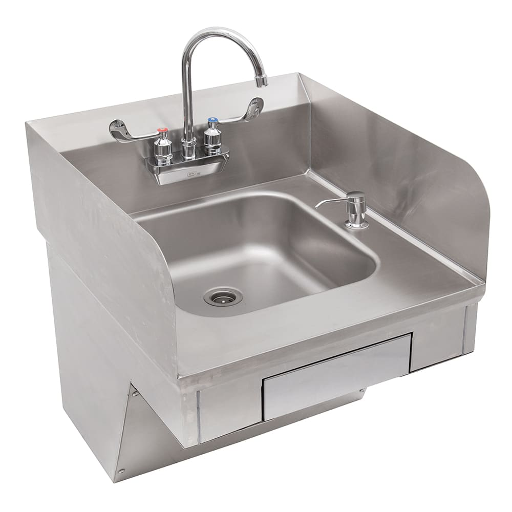 "John Boos PBHS-ADA-P-STD Splash Mount Hand Sink w/ Gooseneck Faucet, 4"" On-Center, 14 x 10 x 5"" Bowl"
