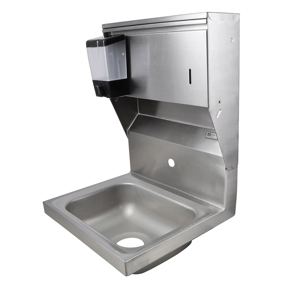 "John Boos PBHS-W-1410-1-SDTD Splash Mount Hand Sink w/ Dispensers, 1-Hole, 14 x 10 x 5"" Bowl"