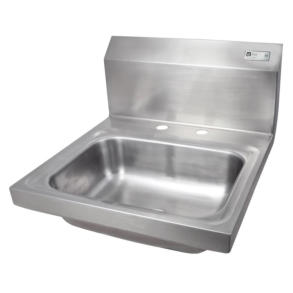 "John Boos PBHS-W-1410-2DM Wall Mount Commercial Hand Sink w/ 14""L x 10""W x 5""D Bowl, Basket Drain"