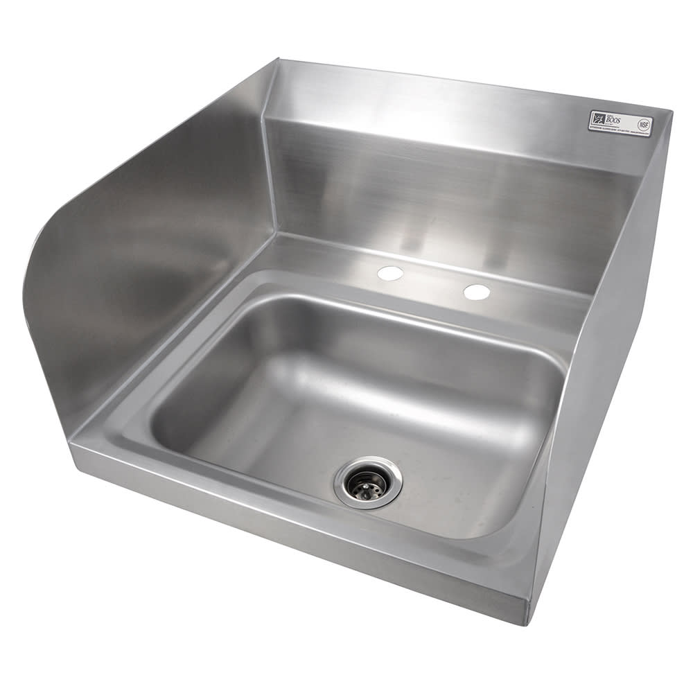 "John Boos PBHS-W-1410-2DM-SSLR Deck Mount Hand Sink w/ 2 Side Splash, 4"" On-Center, 14 x 10 x 5"" Bowl"
