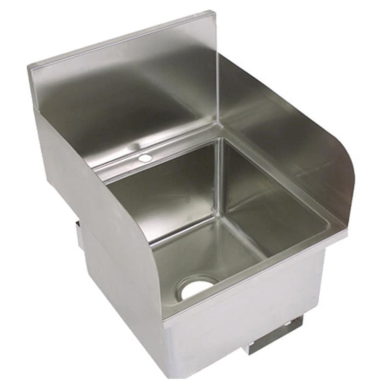 "John Boos PBHS-W-1616-SSLR Deck Mount Hand Sink w/ 2 Side Splash, 1 Hole, 16 x 16 x 10"" Bowl"