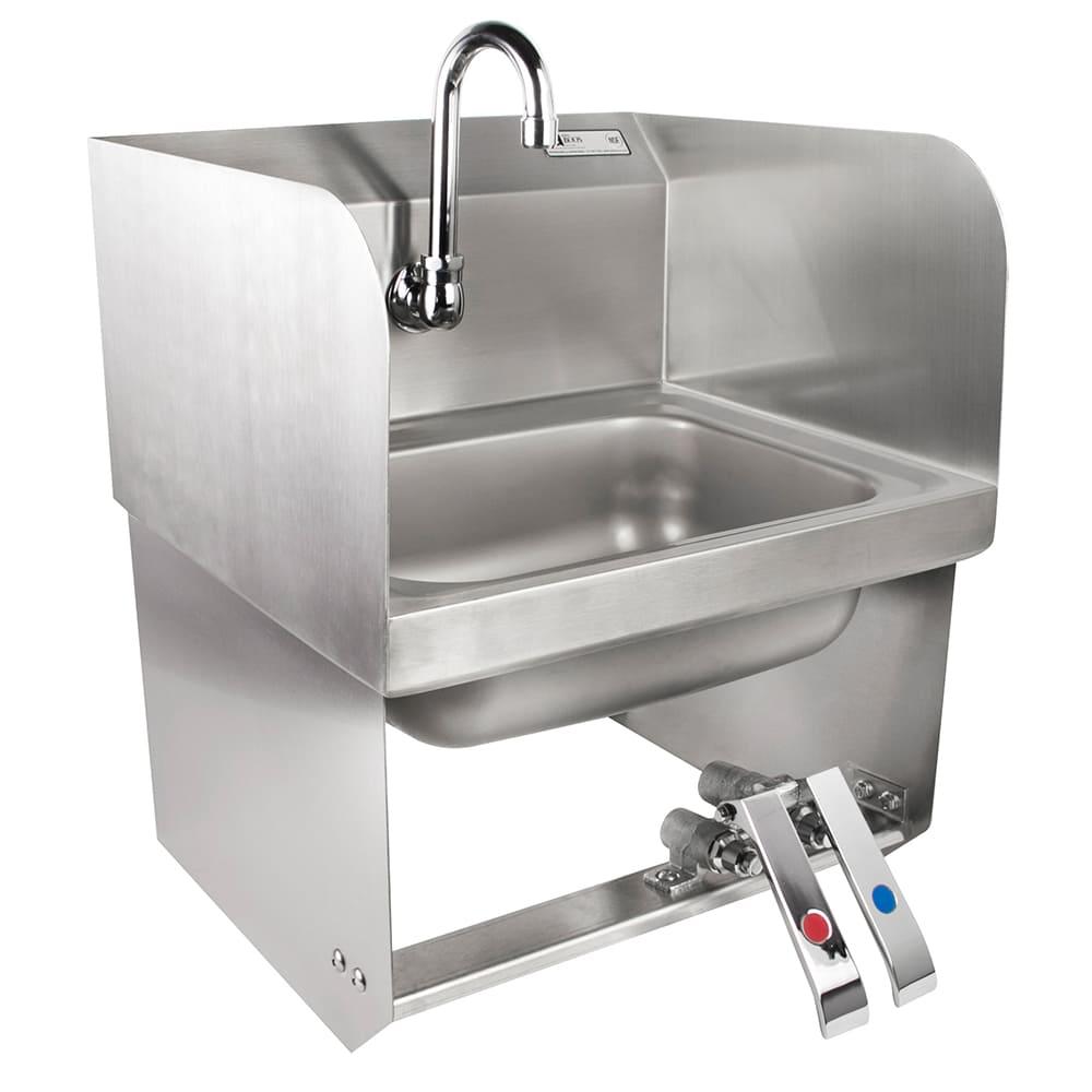 """John Boos PBHS-W-KVMB-SSP Splash Mount Hand Sink, Gooseneck Spout, 1 Hole, 2 Side Splash, 14x10x5"""" Bowl"""
