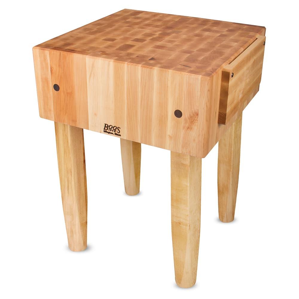 "John Boos PCA3 10"" Maple Top Butcher Block Work Table - 24""L x 24""D"