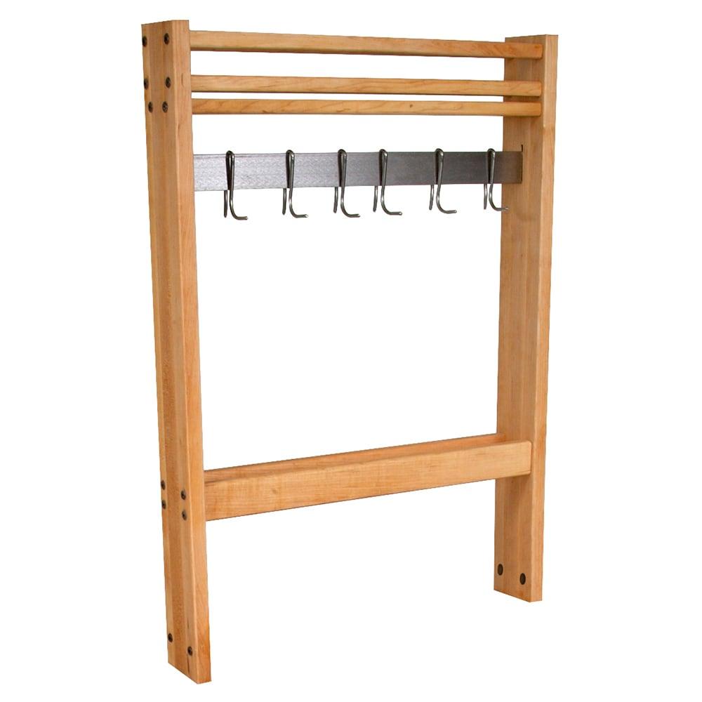 """John Boos POTR24 Pot Rack, Maple, Stainless Steel Bar & Hooks, 24""""Wide"""