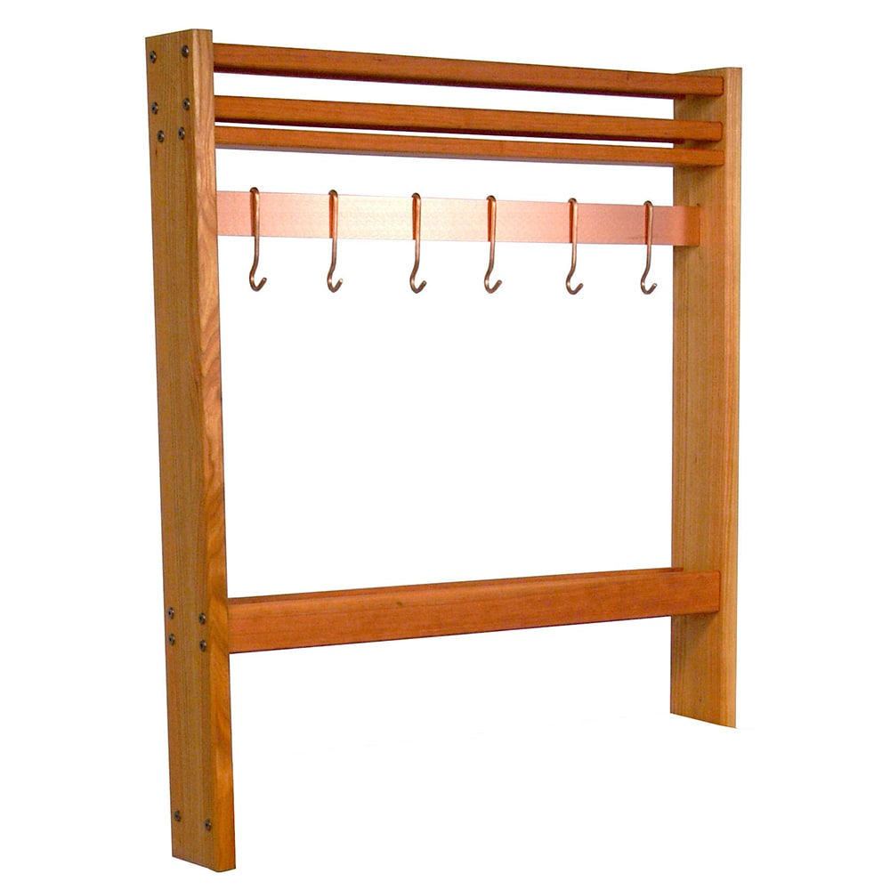 "John Boos POTR36 Pot Rack, Maple, Stainless Steel Bar & Hooks, 36""Wide"