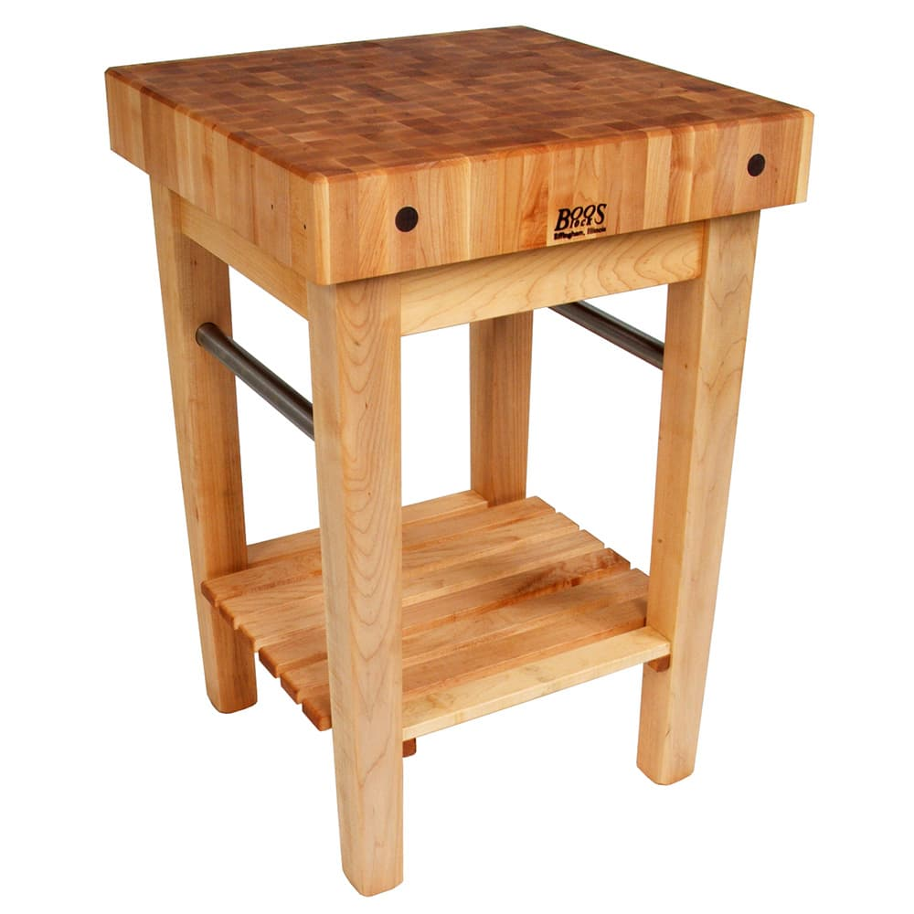 "John Boos PPB3024 4"" Maple Top Butcher Block Work Table w/ Undershelf- 30""L x 24""D"