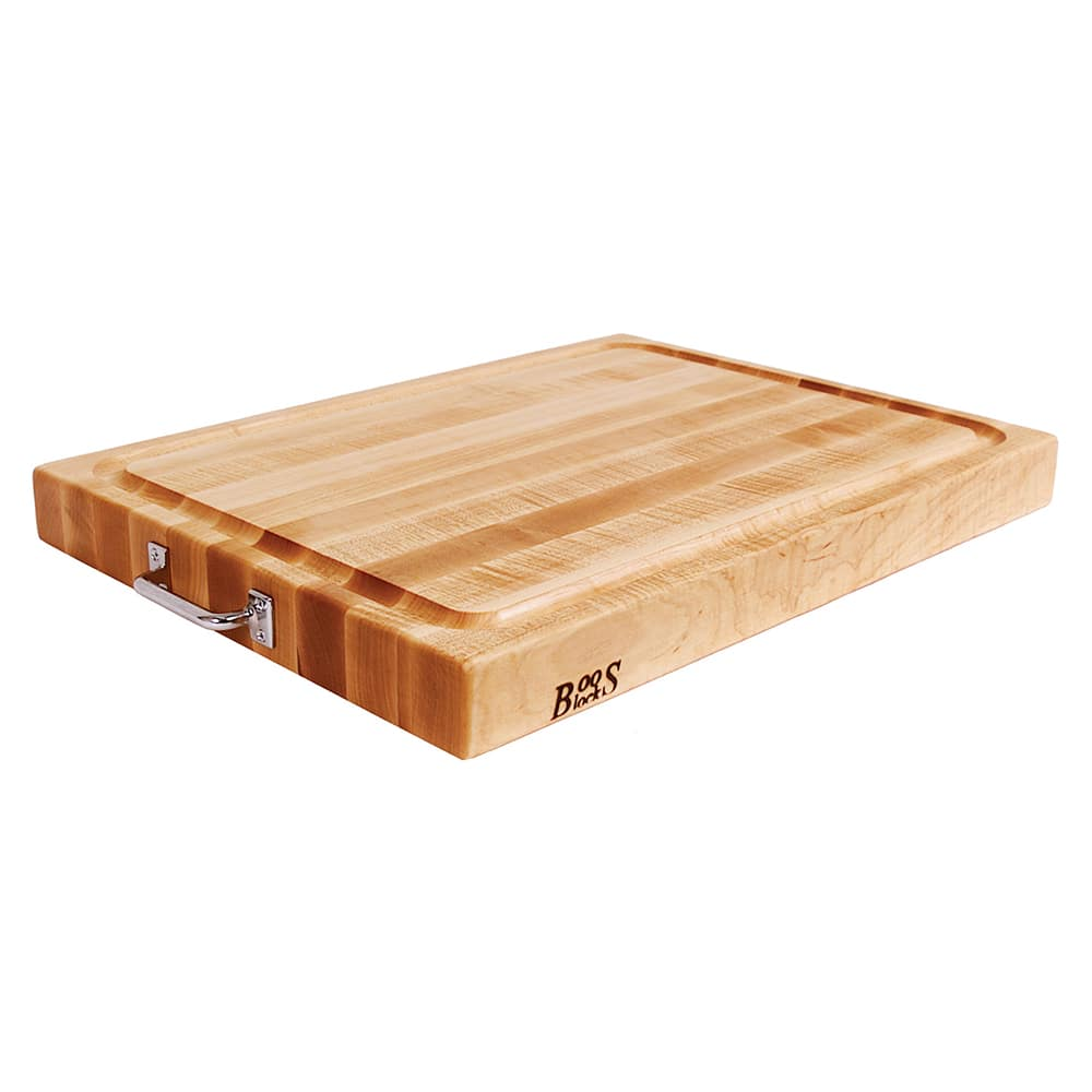 "John Boos RAFR2418 Cutting Board, Maple with Stainless Handles, Juice Groove, 24 x 18 x 2 1/4"" Thick"