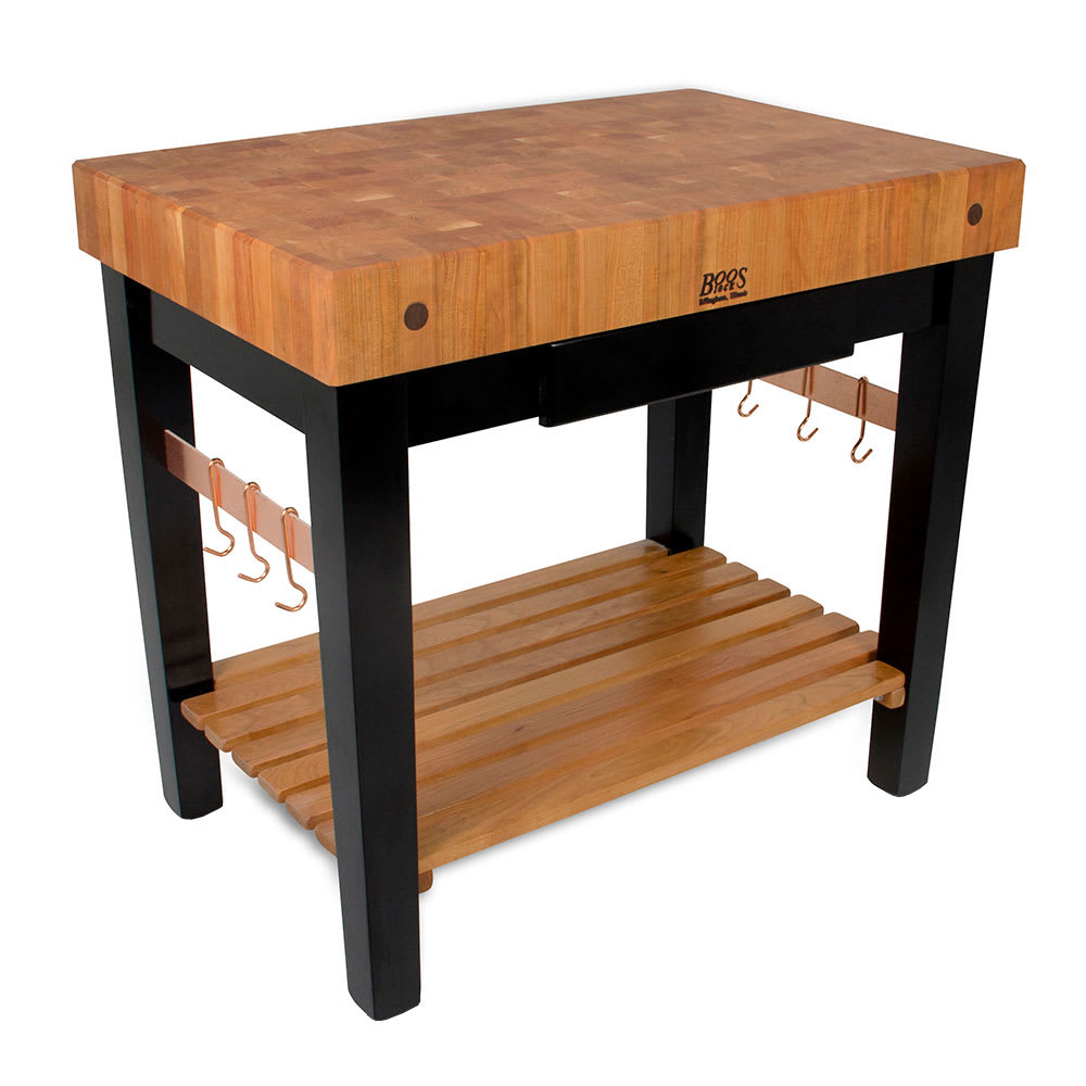 "John Boos RN-PPB3024 4"" Cherry Top Butcher Block Work Table w/ Undershelf - 30""L x 24""D"
