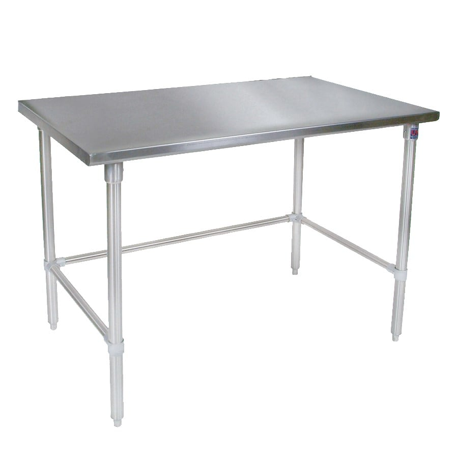 """John Boos ST4-24108SBK 108"""" 14-ga Work Table w/ Open Base & 300-Series Stainless Flat Top"""
