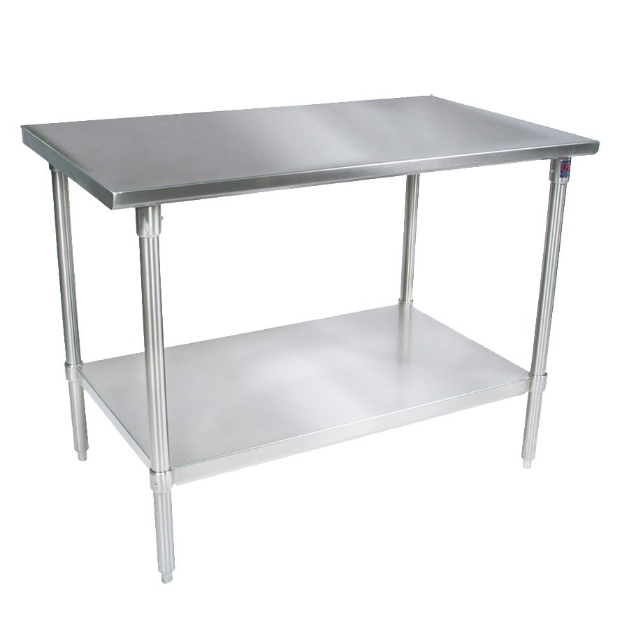 "John Boos ST4-24120SSK 120"" 14 ga Work Table w/ Undershelf & 300 Series Stainless Flat Top"