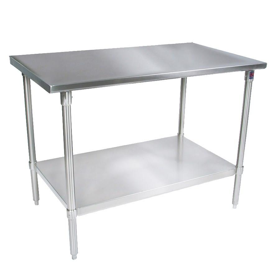 "John Boos ST4-2472GSK 72"" 14 ga Work Table w/ Undershelf & 300 Series Stainless Flat Top"