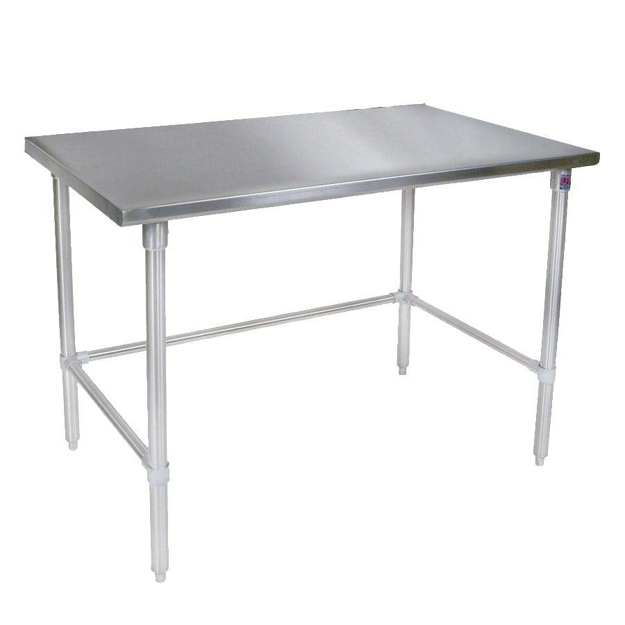 """John Boos ST4-30120SBK 120"""" 14 ga Work Table w/ Open Base & 300 Series Stainless Flat Top"""