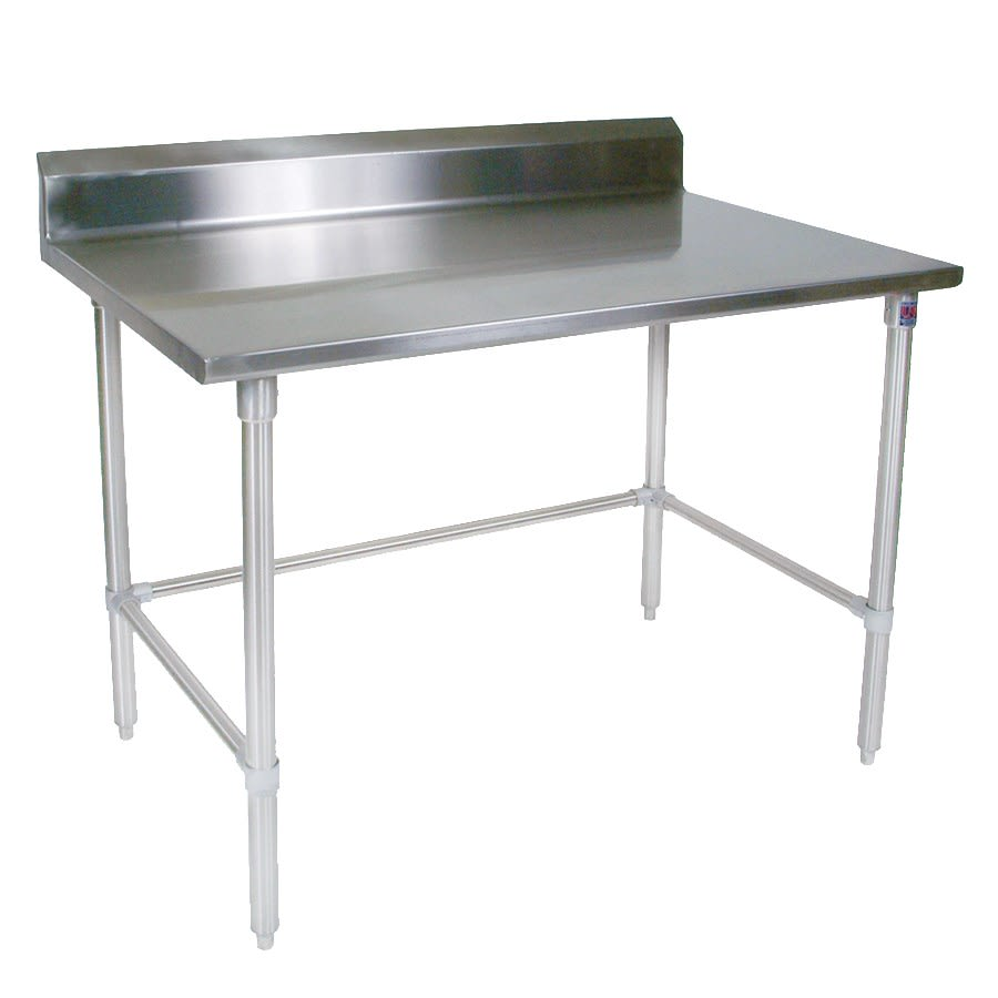 "John Boos ST4R5-2496GBK 96"" 14 ga Work Table w/ Open Base & 300 Series Stainless Top, 5"" Backsplash"